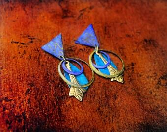 Vintage Brass Earrings, Hand Painted Brass Earrings, Colorful Earrings, Post Earrings, Urban Art Hand Painted Brass Post Earrings