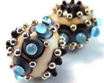 Gilded Turquoise Ivory Ornate Rounds