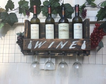 PERSONALIZED ? Wine Bottle rack, holds 4 bottles of wine and 4 wine glasses.