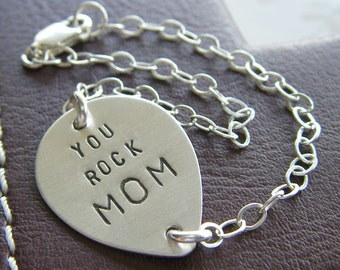 Custom Teardrop Bracelet - Personalized Sterling Silver Hand Stamped Guitar Pick with Optional Birthstone and Pearl