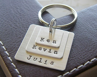 Custom Keychain - Personalized Hand Stamped Sterling Silver - Three Layered Square Key Chain - Perfect Gift for Father's Day