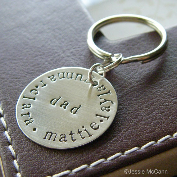Custom Keychain - Personalized Hand Stamped Sterling Silver Key Chain - Perfect Gift for Father's Day