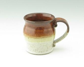 Pottery Coffee Mug - Medium 12 oz Ceramic Tea or Breakfast Mug, Stoneware Dinnerware or Barware Mug Sold Singly Ready to Ship