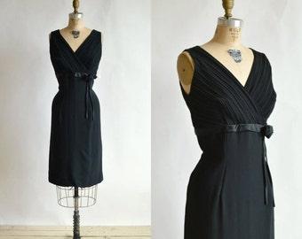 30% OFF Vintage Black Cocktail Dress --- 1960s Wiggle Dress