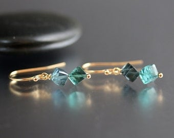 Blue Tourmaline Jewelry - 14k Gold - Blue Tourmaline - Diagonally Drilled Cubes on Earrings