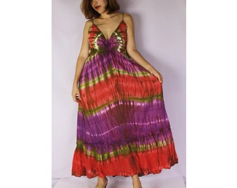 Colorful Tie Dye Cotton Big Halter Back Smock Maxi Women Summer Dress (DMSS 370)