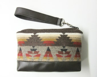 Wool Wristlet Small Wrist Bag Clutch Bag Purse Cosmetic Bag Make Up Pouch Removable Brown Leather Strap Unlined