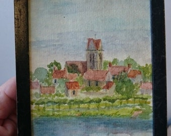Vintage Original Miniature Landscape Watercolor Painting 1940's in Wood Frame