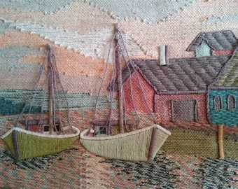 Vintage Sail Boat Seascape Wool Tapestry Wall Art Hanging Hand Made Original