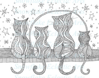 DIY COLORING Page -  Instant PDF Digital Download - Printable Coloring Page - Feline Friends - Kitties - Cats - Adults - Children