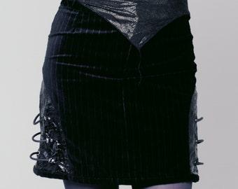 Black cyberpunk skirt, Steamtech Black BioMech leather and velvet pinstripe skirt velvet skirt pinstripe skirt cyberpunk skirt