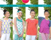 Laguna Summer Shirts Collection PDF Downloadable Pattern by MODKID... sizes 2T to 12 Girls included - Instant Download