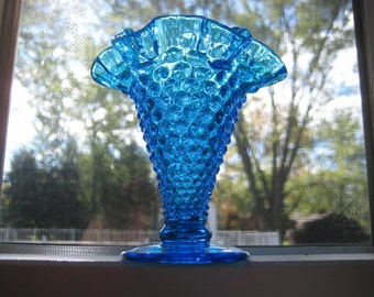 Fenton Hobnail Blue Wavy Top Vase--Translucant