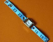 Tape Measure Watch in Blue - Square Face - Statement Jewelry created with Upcycled Measuring Tape