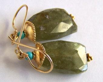 Big sparkly Vessonite earrings Vesuvianite Turquoise Gold Vermeil faceted stone rustic natural stone green grossular garnet vassonite