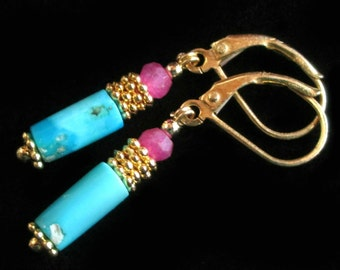 Arizona Turquoise earrings Pink Aventurine accents gold plated vermeil, small colorful blue american turquoise, Rustic byzantine Jewelry