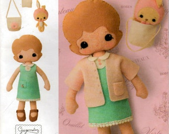 Sewing pattern Felt Doll and Accessories to make 33cm 13 inches tall