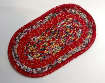 Oval Coiled Fabric Trivet, Candle Mat, Hot Pad, Red, Green & Gold