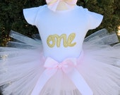 First Birthday Outfit Girl Pink and Gold Birthday One Gold Glitter Birthday Gold One First Birthday Glitter
