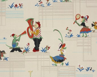 1930s Vintage Wallpaper by the Yard - Musical Monkies and Clowns and Playful Animals Nursery Wallpaper
