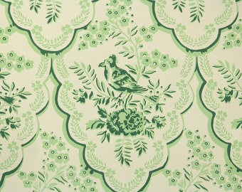 1950s Vintage Wallpaper by the Yard - Nancy McClelland Green and White Floral Wallpaper with Bird