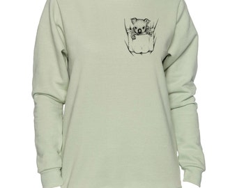 Koala In Pocket Art LADIES Sweatshirt Small - 2XL