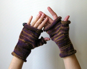 Variegated Purple Brown Wool Knit Mittens, Teenagers Mitts, Fingerless Gloves, Woman, Hand Warmers, Winter Accessories, Hand Knitted Mittens