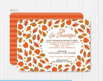 Falling Leaves Baby Shower Invitation - Autumn Oranges - Instant Download & Editable File - Personalize at home with Adobe Reader