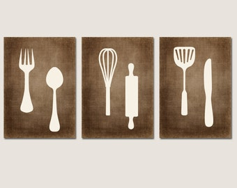 KITCHEN Wall Art, CANVAS or Prints Bedroom Pictures, Fork Spoon Knife Utensils, Dinning Decor, Wall Hanging Set of 3 Home Choose Colors