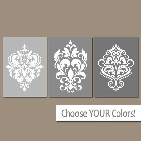 Damask Wall Art damask bedroom wall art damask design canvas or prints gray