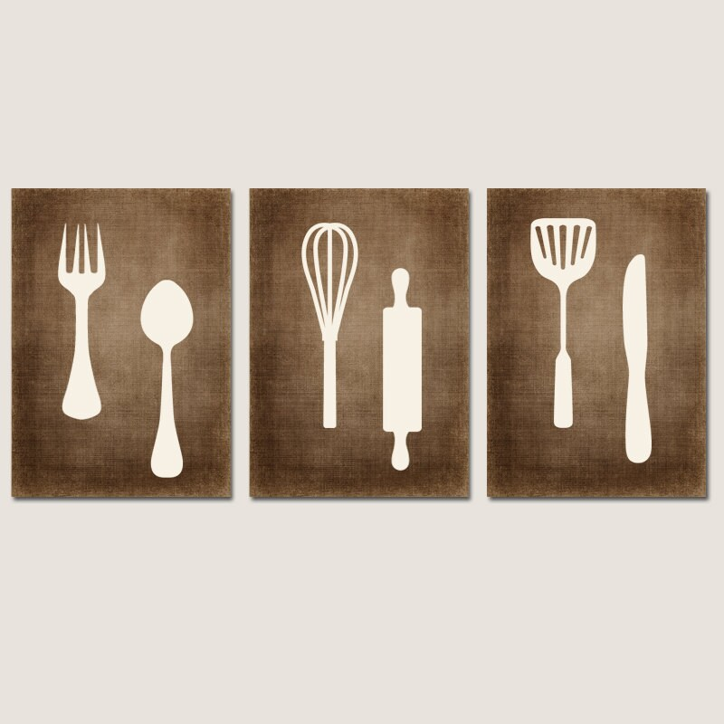 Kitchen wall art canvas or prints bedroom pictures fork - Kitchen canvas wall decor ...