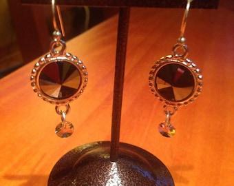 Black swarovski rivoli earrings with dangle