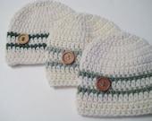 Crochet Knit Baby Boy Hat, Newborn Hat, Baby Shower, Baby Boy Gift, Baby Beanie -  Cream, Green Baby Beanie - Pick Color & Size!