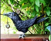 Primitive Soft Sculpture Paper Mache Covered Crow