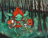 Reserved ---Little Goblin Thief vintage Halloween Wall Art Original Painting 5 x 7
