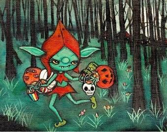 Little Goblin Thief vintage Halloween Wall Art Original Painting 5 x 7
