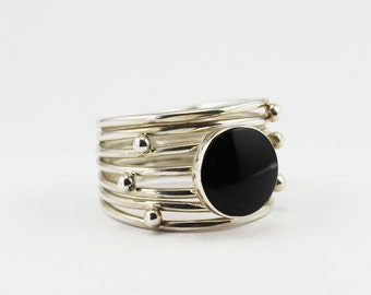 Black obsidian stone silver 925e ring handmade in sterling silver with natural black obsidian