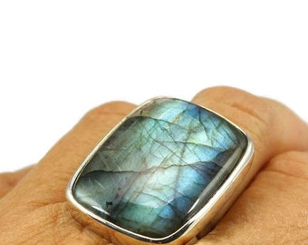 Big Square Labradorite ring 925 silver mount, solid silver and natural blue fire in stone