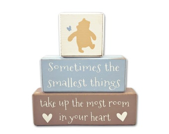 Winnie the Pooh baby shower - painted blocks - baby shower - wood sign