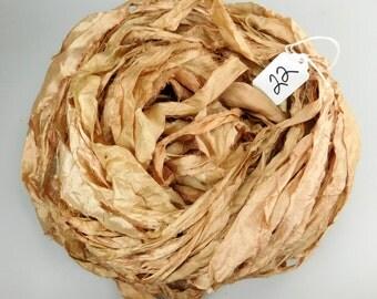 Sari silk Ribbon, Recycled Silk Sari Ribbon, Tan sari ribbon, Tan ribbon, Tan silk sari ribbon, paper bag colored ribbon