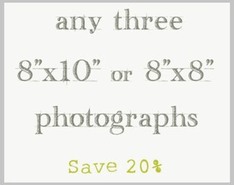 Set of Three Photography Prints - 8x8 or 8x10