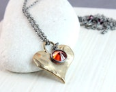 Heart Necklace  Oxidized Silver Red Cubic Zirconia  Mixed Metal Jewelry  Two Tone Jewelry Love Necklace  Bronze Pendant Hildes Heart Pendant