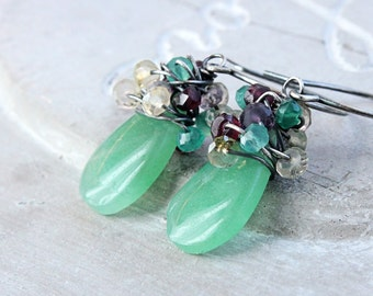 Colorful Earrings Multi Gemstone Jewelry Oxidized Silver Aventurine Jewelry Multi Colored  Cluster Earrings  Green Gem Stone Wire Wrapped