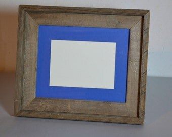 """8"""" x 10"""" table top photo frame with 5x7 blue mat handmade in the USA"""
