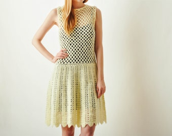 Vintage Hand Knit Crochet Sweater Dress