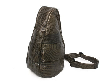 SNAKESKIN olive green leather 80s 90s KNAPSACK grunge mini TRIANGLE backpack