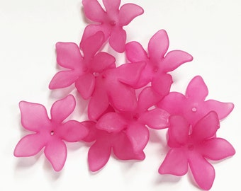 30 pcs of Frosted Acrylic  flower beads 27mm  Fuchsia