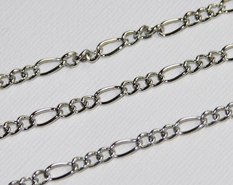15 ft of Antique Silver Figaro Chain 5x8.6mm - Open Link