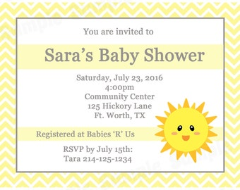 20 Personalized Baby Shower Invitations  - You Are My Sunshine Baby Shower - Sunshine Baby Shower - Sunshine Invitations