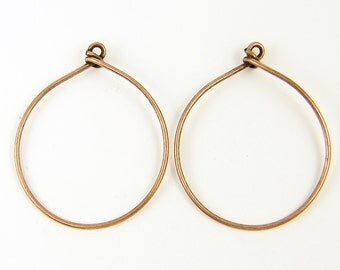 Large Antique Copper Hoop Earring Finding Wire Earring Components 16 Gauge |NU2-10|2 XN